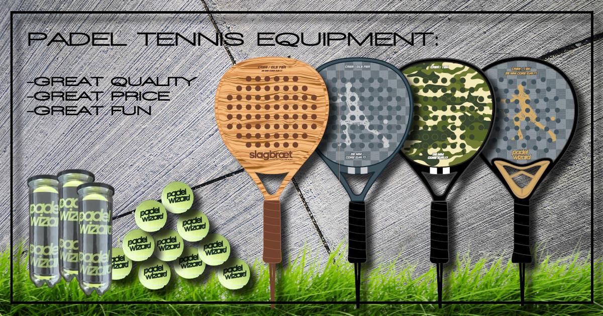 Padel tennis racket and balls carbon