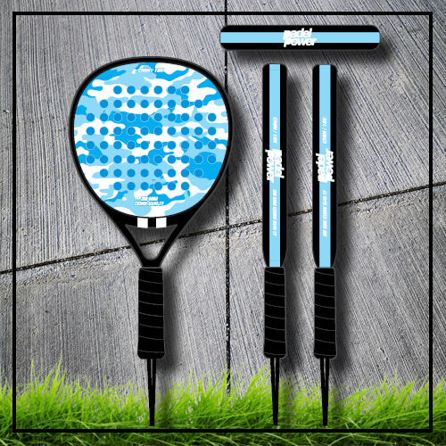 Padel tennis racket camouflage blue carbon