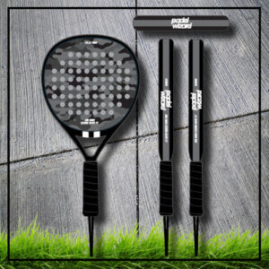 Padel tennis racket camouflage camp grey black