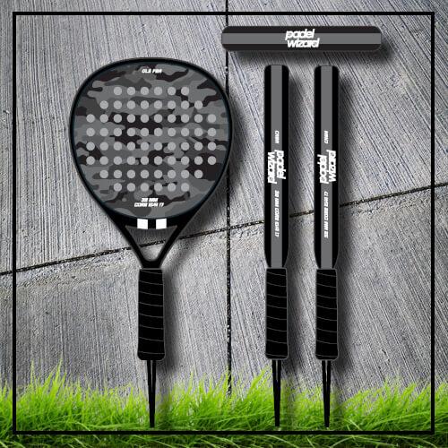 Padel tennis racket camouflage camp grey black
