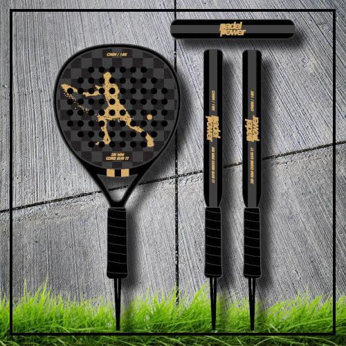 Padel tennis racket Square black gold carbon
