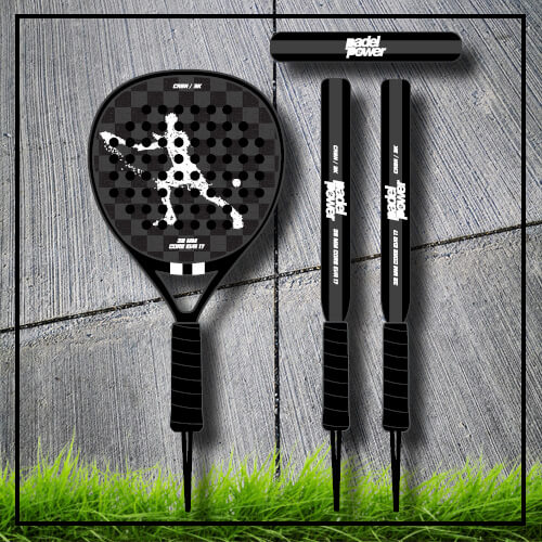 padel tennis racket Square black white carbon