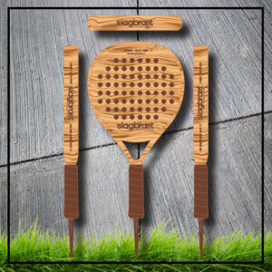 Padel tennis racket light wood brown show 4 sides