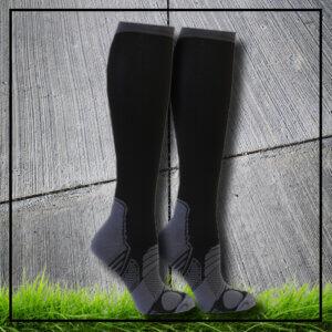 Sports socks long high compression black reflexes