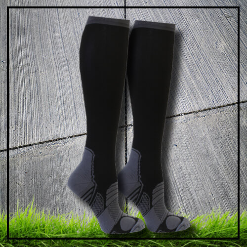Sports socks long high compression black reflexes